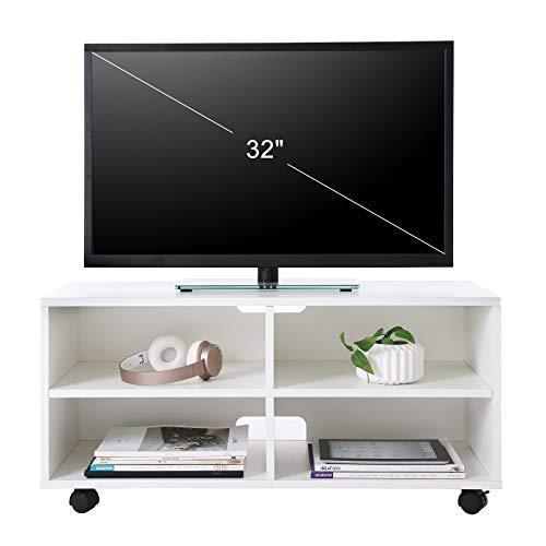 VASAGLE Mueble para TV con 4 Compartimentos y Ruedas, Mesa Baja para TV, Mueble para televisor, Disco Duro, para Comedor, Blanco LTC02WT: Amazon.es: ...