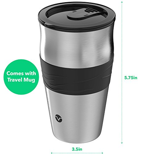 Vremi Single Cup Coffee Maker - includes 14 oz Travel Coffee Mug and Reusable Filter - Personal ...