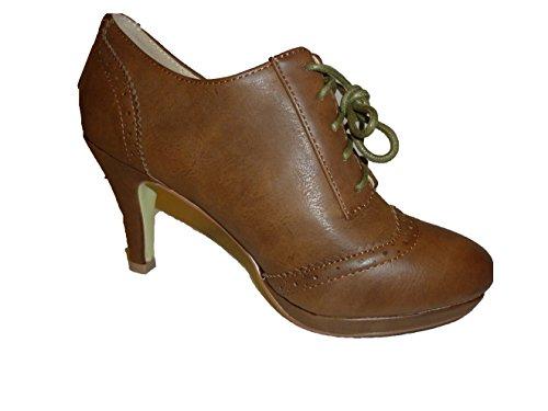 3-W-Hohenlimburg Elegante Stiletto High Heels Schnürstiefel in Topmoderner Mokassin - Optik, Damenschuhe, STI038, Schuh für Damen, Modische Stiefel/Stiefeletten. Hier: Braun. Braun