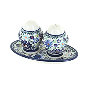 Blue Rose Polish Pottery Fantasy Salt & Pepper Shakers with Plate