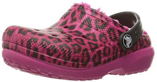 Crocs Classic Lined Graphic Clog (Toddler/Little Kid), Pink/Leopard, 10 M US Little (Kids Leopard)