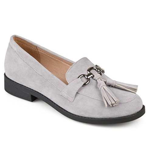 Journee Collection Womens Faux Suede Tassel Loafers Grey