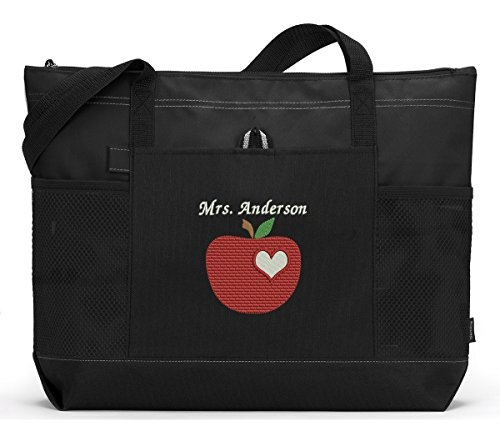 Personalized Teacher Apple with Heart Tote Bag with Mesh Pockets