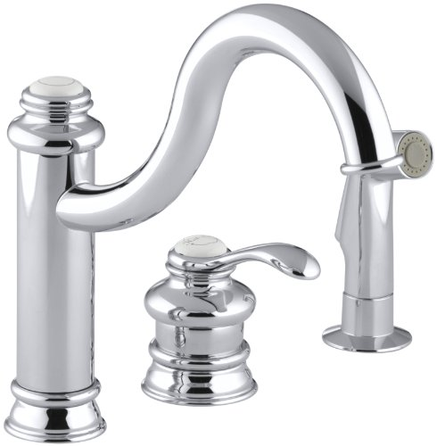 KOHLER K-12185-CP Fairfax Single Control Remote Valve Kitchen Sink Faucet, Polished (Control Remote Valve Kitchen Faucet)