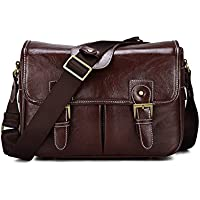 DSLR Camera Bag Waterproof PU Leather Travel Bag Shoulder Bag for Canon Sony Nikon Canon Olympus DSLR Camera (Coffee)