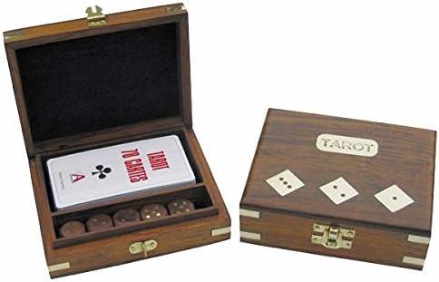 Tarot de Juego de Cartas + Dados en Caja de Madera con latón marquetería: Amazon.es: Juguetes y juegos