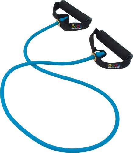 Body Sport Fitness Performance Tube – Resistance Tubing – for Rehabilitation and Exercise – Exercise Tubes with Handles – Blue – Light Resistance