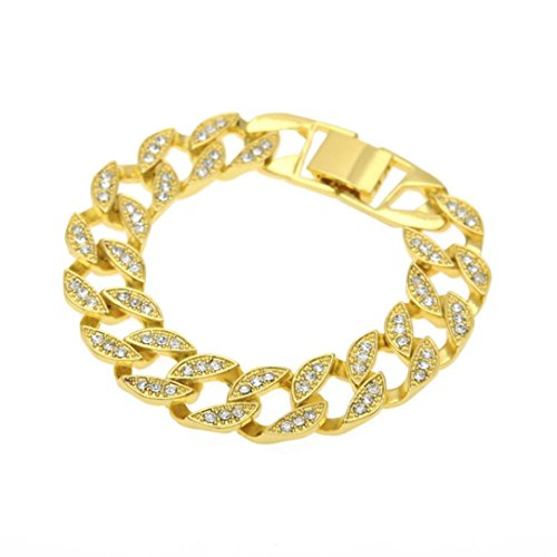 Citrine Knife - Beuu Hip-Hop Cuban Chain Bracelet Hip Hop Men Women Jewelry Bling Rhinestone Crystal Bangle (Gold)