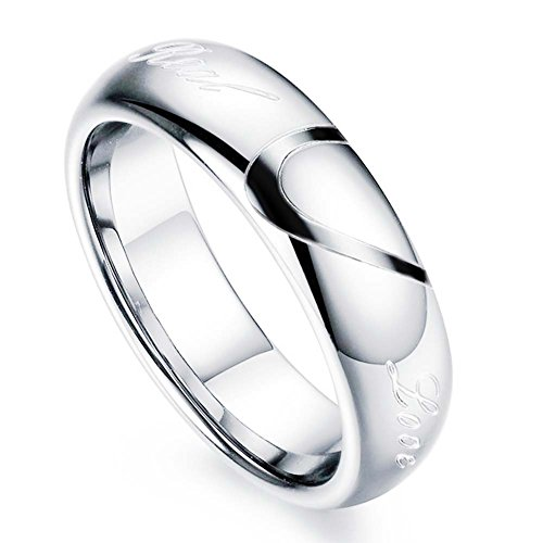 """Mens Womens Heart Titanium Steel Promise Ring """"Real Love"""" Couples Wedding Band Rings for Him and Her Men's Ring 5mm Width Size 13"""