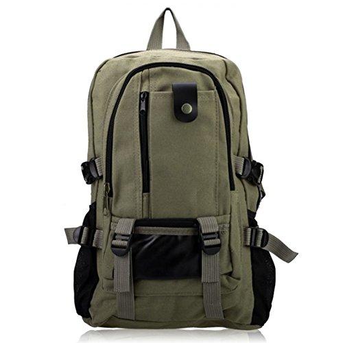Hombre mochila - SODIAL(R)Hombre retro ocio lona mochila Verde Militar Verde Militar