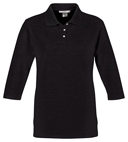 (Tri Mountain Women's 3/4-Sleeve Pique Knit Golf Shirt Black)