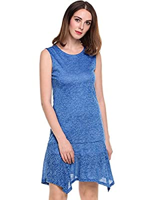 ANGVNS Women's Basic O Neck Bodycon Sleeveless Mini Tunic Dress