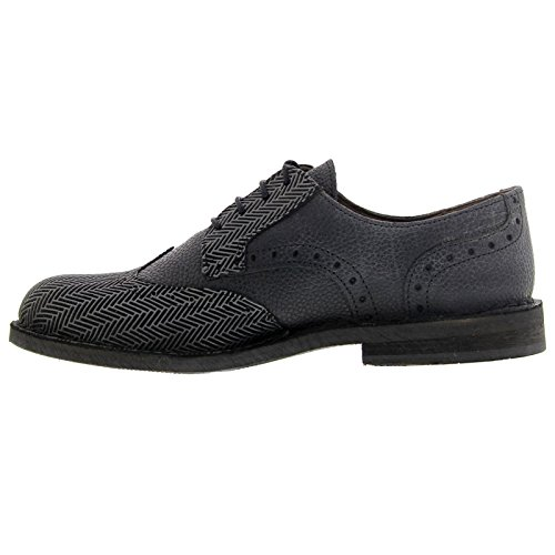 Fly London Mens IDal 903 Spin Sole Leather Shoes Black Grey