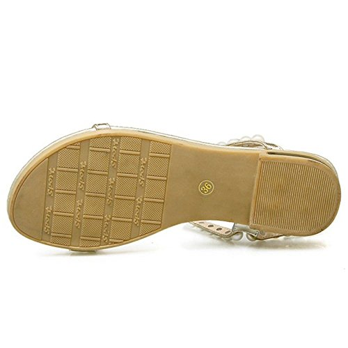COOLCEPT Mujer Beaded Boda Sandalias Verano Beach Vestir Tacon de Vaquero Zapatos Oro