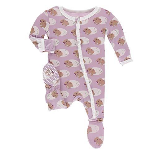Kickee Pants Little Girls Print Classic Ruffle Footie with Zipper - Sweet Pea Diictodon, Newborn