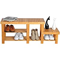 WOLTU Natural Bamboo Shoe Rack Bench Entryway Footstool Storage Rack with Different Tier Heights,CSR16bab