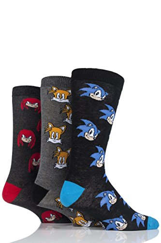 Mens 3 Pair SockShop Sonic the Hedgehog, Knuckles and Tails Cotton Socks - Assorted 13-15]()