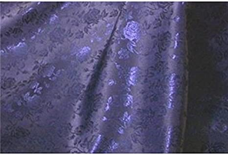"""60/"""" WIDTH SOLD BY THE YARD DECOR Navy FLORAL ROSE JACQUARD SATIN FABRIC"""