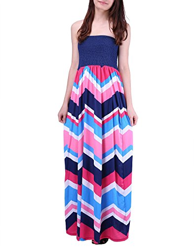 Le Top Pink Dress (HDE Women's Strapless Maxi Dress Plus Size Tube Top Long Skirt Sundress Cover Up (Pink Blue Chevron, 2X))