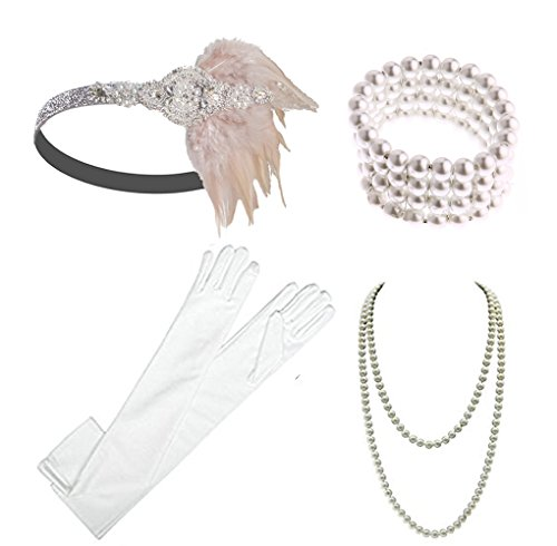 1920s Gatsby Accessories Flapper Headband Necklace Gloves Cigarette Holder Flapper Costume Accessories Set for Women and Girls (EG) -
