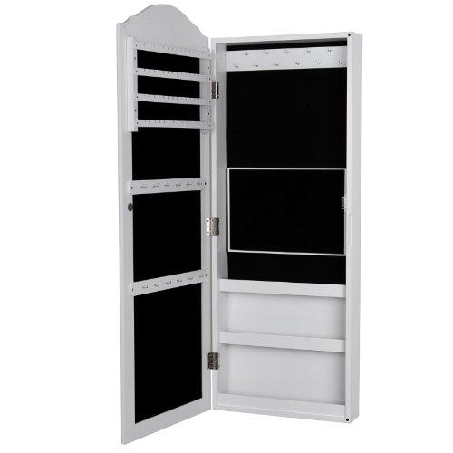 Songmics Schmuckschrank Wandspiegel zum Hängen mit Tür und Magnetverschluss JBC83W