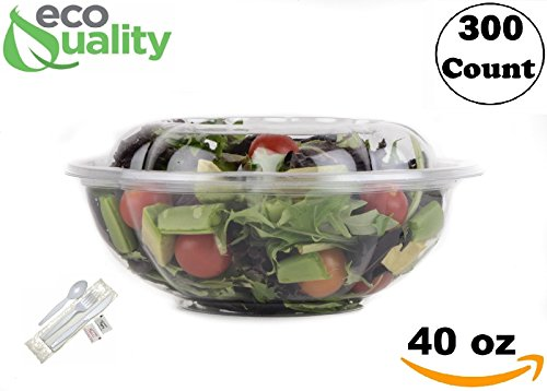 40oz Salad Bowls To-Go with Lids and Cutlery (300 Count) - Clear Plastic Disposable Salad Containers | Lunch, Salads, Fruits, Leak Proof, Airtight, Fresh, Meal Prep, Fork, | Rose Bowl Container (40oz)