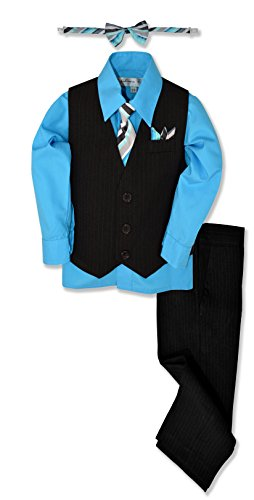 Johnnie Lene JL40 Pinstripe Boys Formal Dresswear Vest Set (10, Black/Vivid)