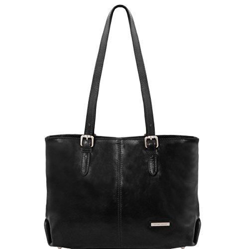 Tuscany Leather Annalisa Bolso shopping en piel con dos asas Rojo Bolsos de asa larga Negro