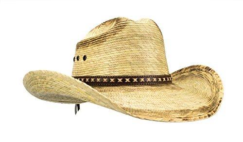 Rising Phoenix Industries Large Mexican Palm Leaf Cowboy Hat, Sombreros Vaqueros de Palma de Hombre, Flex Fit (Burnt Stain) (Original)