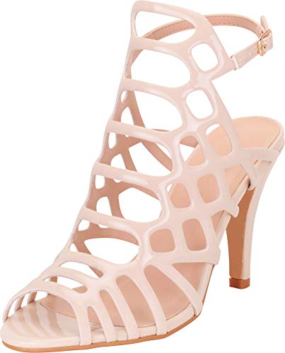 Cambridge Select Women's Open Toe Strappy Laser Cutout Caged High Heel Sandal,8 B(M) US,Nude Patent ()
