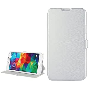 PU Leather Cover, Holder Case Funda para Samsung Galaxy S5 G900 (Silver)