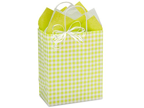 Pack Of 250, Apple Green Gingham Kraft Paper Shopping Bags W/Serrated Edge Tops & Sturdy Kraft Paper Twisted Handles - Cub 8 X 4.75 X 10.25