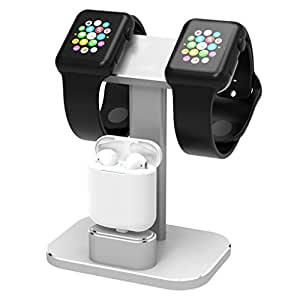 DHOUEA 2 In 1 Apple Watch Stand Dual Head iWatch Charging Dock Station Stand Holder Aluminum Airpods Stand for Apple Watch Series 1 / 2 (38mm or 42mm) Airpods (Siliver)