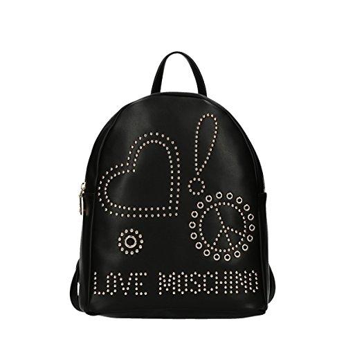 Love Moschino - Borsa Calf Pu Nero Galv.oro, Bolsos mochila Mujer, Negro (Black), 10x28x24 cm (B x H T)