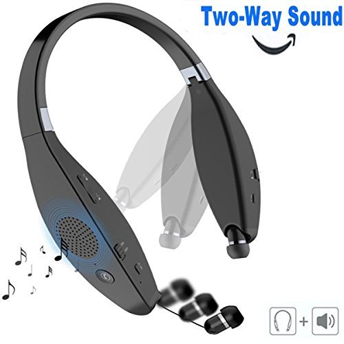 [Latest 2-in-1] Bluetooth Headphones Speaker, EREACH AVT805 Wireless V4.1 Foldable Neckband Headset with Retractable Earbuds, Built-in Speakerphone & Mic for iPhone, Android & Other Bluetooth Device