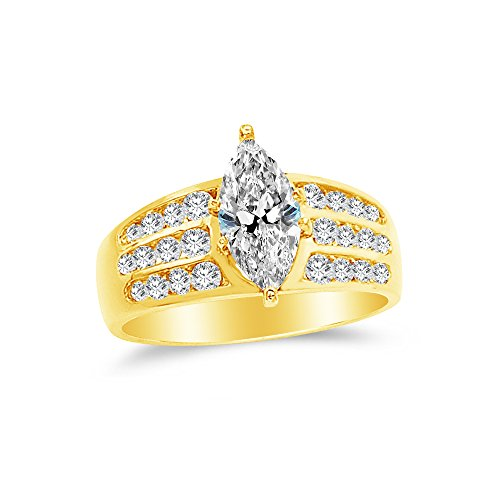 Size - 4.5 - 14k Yellow Gold Highest Quality CZ Cubic Zirconia Marquise Engagement Ring (1.5ct. Center Stone) 14k Yellow Gold Marquise Band