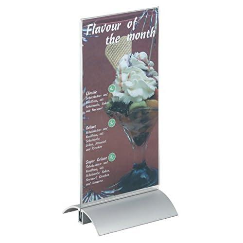 Durable 858719 Presenter Présentoir Porte - Affiche de Table Format 1/3A4 Recto/Verso sur Socle Profilé Aluminium + Plaque Acrylique Transparent
