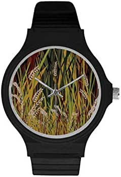 Nature Utility Unisex Round Plastic Watch,Reeds Dried Leaves Wheat River Wild Plant Forest Farm Country Life Art Print Image for Daily,Case Diameter : 37mm