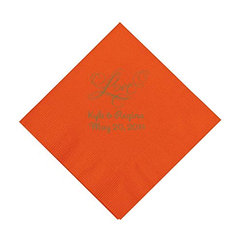 Orange''Love'' Personalized Napkins with Gold Foil - Luncheon by Fun Express