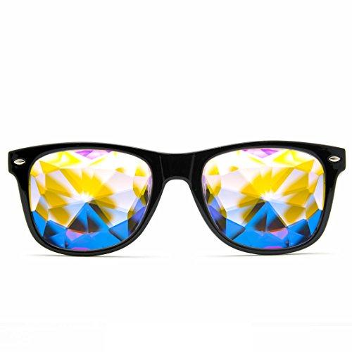 GloFX Ultimate Kaleidoscope Glasses - Black - Rainbow EDM Rave Light Diffraction Eyewear (Black)