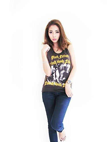 Bunny Brand Women's Bloody Sabbath Ozzy Osbourne Music T-Shirt Tank Top Black (Large, Black)