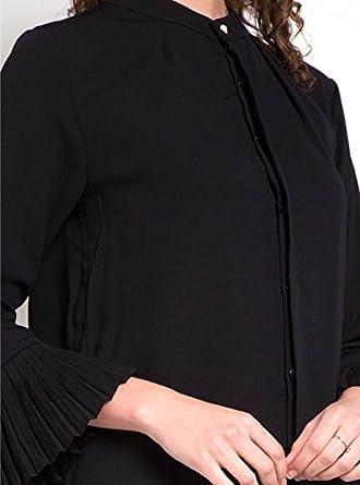 0bc95cbda18c13 ENL Women s Georgette Cuff Mandarin Collar Formal Shirt Golden Button  Detailing Top Blouse  Amazon.in  Clothing   Accessories