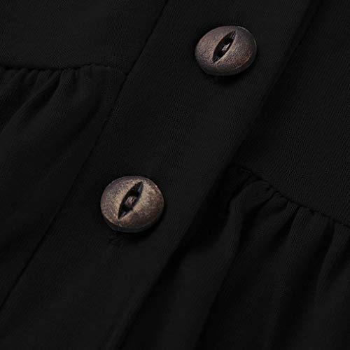 Sleeve Chemisier Button Long Blouse Femmes CCasual Tops Blouse Tunique Pliss Noir Innerternet Tops Shirt Up Loose Lache qYB100z