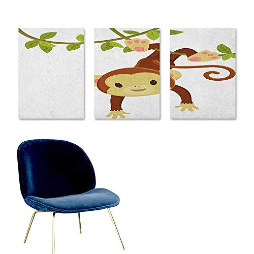 J Chief Sky Nursery,Boys Wall Sticker Cute Cartoon Monkey Hanging on Liana Playful Safari Character Cartoon Mascot Posters for Sale Brown Green Pink W16 x L32 -