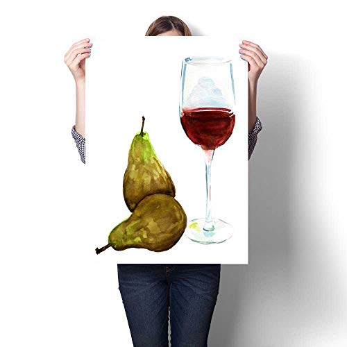 Anshesix Canvas Painting Sticker Glass of red Wine with Two Pears on White Background Print On Canvas for Wall Decor 24