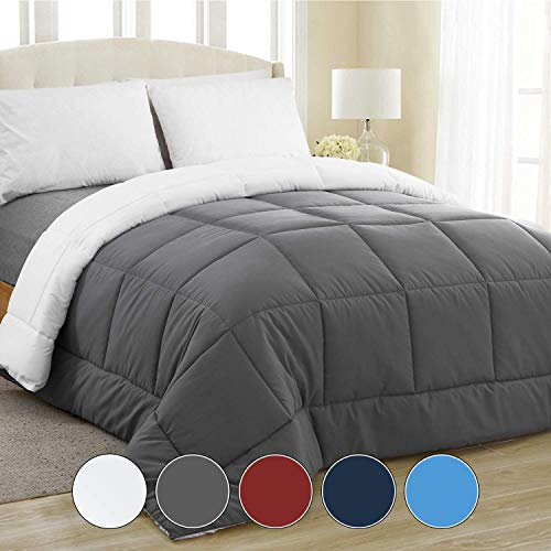 Equinox All-Season Charcoal Grey/White Quilted Comforter - Goose Down Alternative - Reversible Duvet Insert Set - Machine Washable - Plush Microfiber Fill (350 GSM) (Queen)