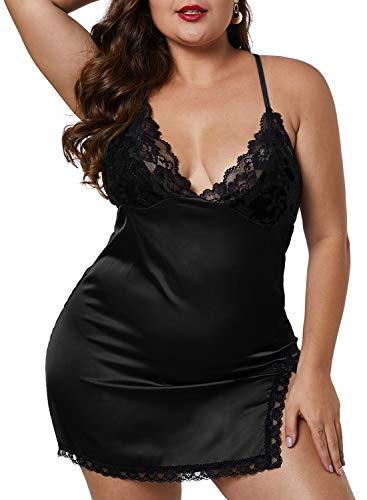(XAKALAKA Women Plus Size Lace V Neck Satin Chemise Back Crisscross Lingerie Babydoll Black XL)
