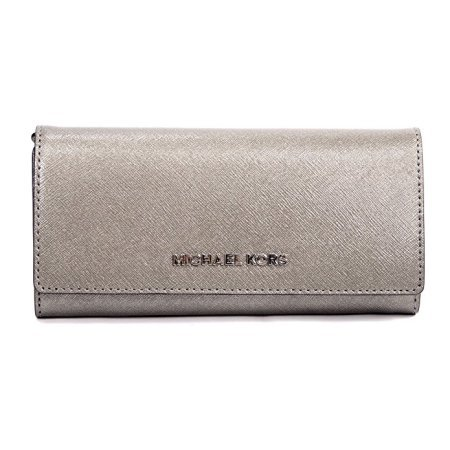 Michael Kors Womens Silver Jet Set Travel Carryall Large Wallet Saffiano Leather Wallet by Michael Kors (Image #1)