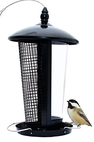 Wild Bird Feeder Attract More Birds Perfect for Garden Decoration, Great Bird Feeders for Small Birds and Medium Size, Easy to Clean and Fill Bird Feeder Hanger Included Great Gift & Fun Idea! (Black)