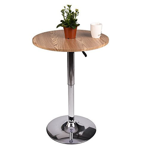 Pub Table MDF Top 360°Swivel Furniture (Raw wood) by PULUOMIS